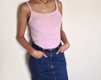 Vtg 90's GRUNGE CLUELESS denim pencil skirt S/M