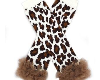 Leopard Organza Ruffle Cotton Leg Warmers