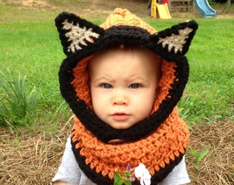 Crochet Fox Cowl Hat