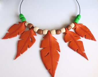 Feathers and beads necklace.