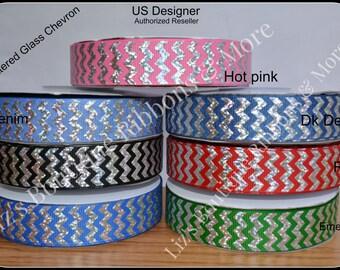 US Designer Ribbon   Chevron ribbon , USDR / 7/8 grosgrain ribbon, hair bow supply, craft supply/ 3yds / chevron foil ribbon