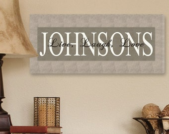 Personalized Canvas Sign - Bold Grey Live, Laugh, Love