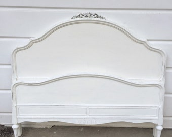Full Size Bed Frame White Chalk Painted with Pearl Glaze Girls Bedroom Vintage Shabby Chic Bed