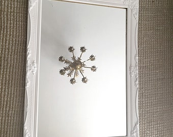 Ornate Wall Mirror, Large Baroque Mirror White Shabby Cottage Chic Frame Bathroom Nursery Mirror