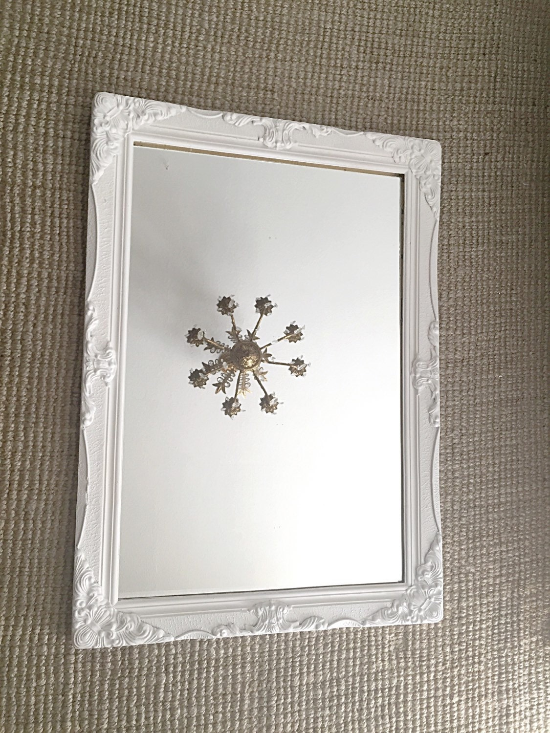 Large baroque mirror ornate wall mirror white shabby chic for White tall wall mirror