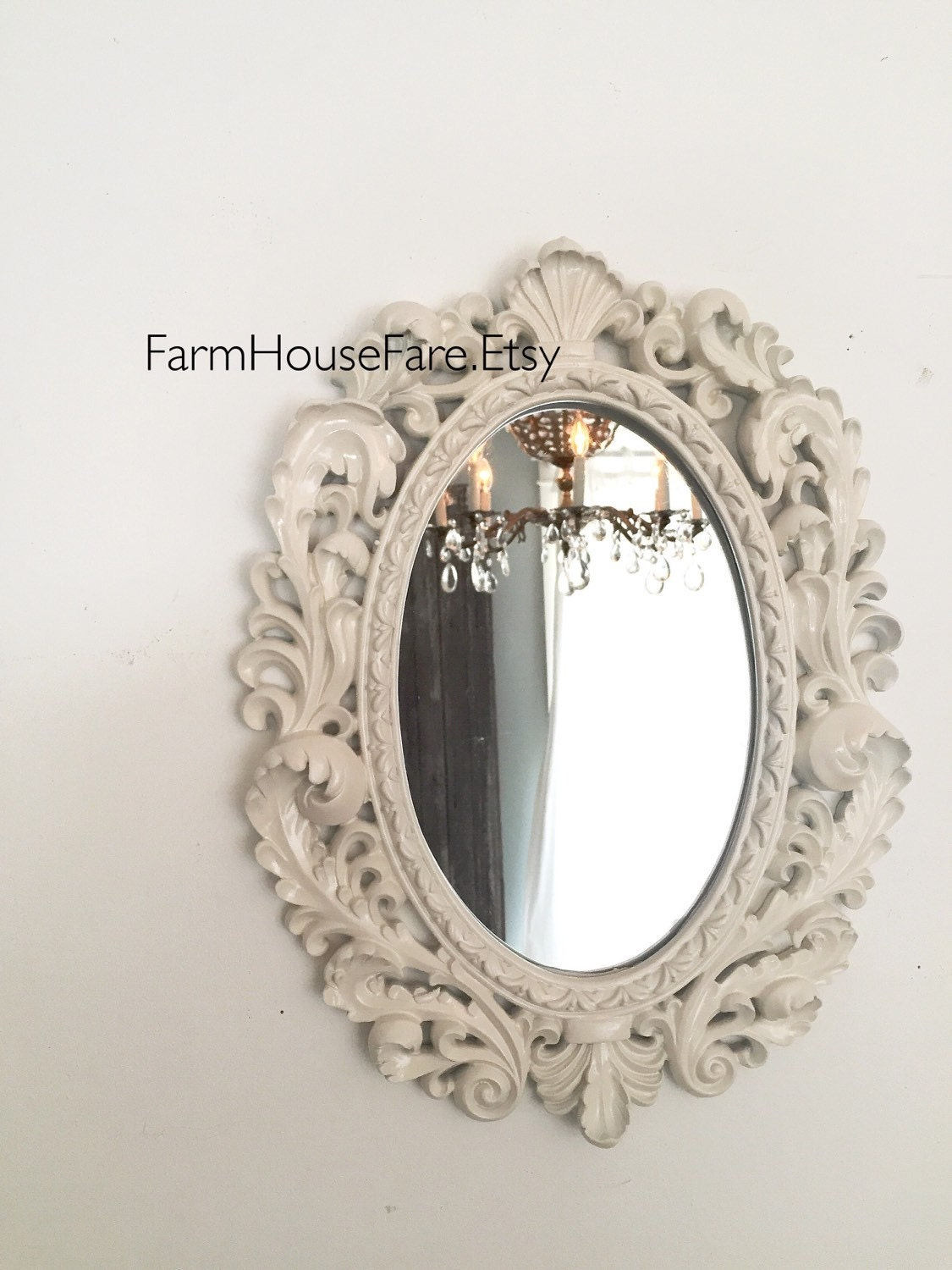 Ornate oval mirror baroque french mirror wall hanging mirror for Baroque oval mirror