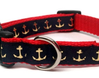 Navy Blue and Gold Nautical Anchors Dog Collar Small or Medium Adjustable 3/4 inch Quick Release