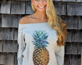 watercolor pineapple raw edge sweatshirt