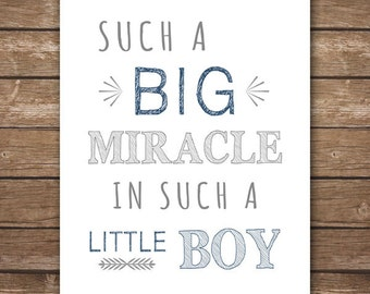 INSTANT DOWNLOAD - Such a Big Miracle in Such a Little Boy - Printable Wall Art - Navy & Gray Vintage Nursery - DIGITAL 8x10