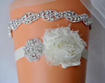 Luxury Bridal Garter Set, Wedding Garter Set Ivory, Ivory Shabby Chic Rhinestone Garter, Crystal Rhinestone Garter and Toss Garter Set