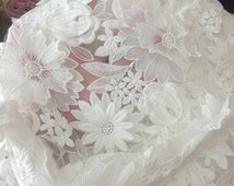 3D Antique White Lace fabric ,Floral organza Lace for Girls, Women, Clothings / DRESS Lace supply ,solubility lace fabric