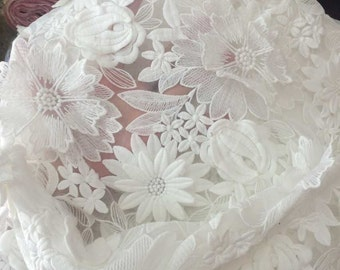 3D Lace fabric , 1/2 yard Antique lace fabric , White Floral organza Lace for Girls, Women, DRESS Lace supply ,solubility lace fabric