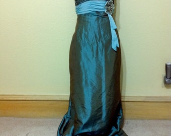 "Cinderella Strapless Ocean Taffeta Dress size 18 Bust 40"" /Mother Bride/Bridesmaid /Prom/ Formal Strapless Dress"
