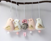 Birds ornament, mobile birds hanging toys x4. Shabby & chic birds, White and baby pink cloth, gold decor. Baby shower gift. Nursery ornmaent
