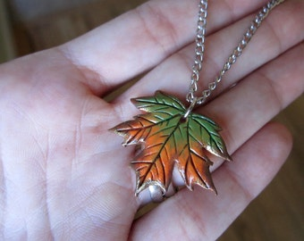 Autumn Maple Leaf Pendant, Polymer Clay Charm