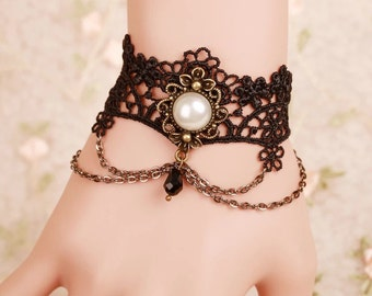 Gothic Lace Cuff Bracelet with Chain