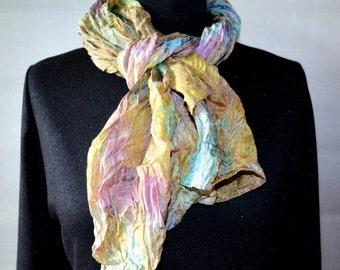 "silk scarf, hand painted scarf, lila yellow blue gold, scarf Falten, hand-painted silk, size 17"" by 66"" . gold scarf silk"