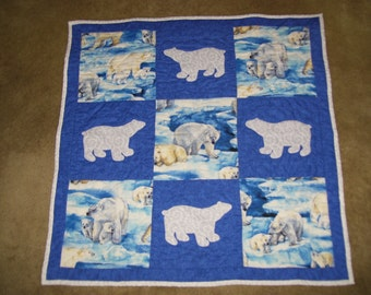 Polar bear quilt that has been machine quilted and appliqued-lap quilt-wall quilt-table quilt