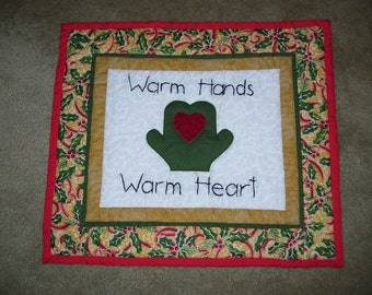 Winter quilt-small quilt-message quilt that is hand embroidered and machine appliqued and quilted