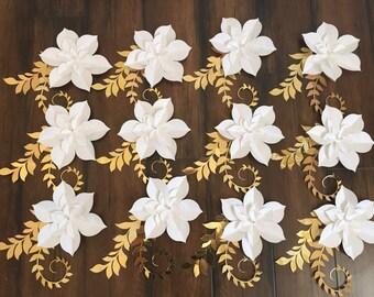 Small Paper Flower Succulents, Paper Flower Favor Tags, paper Flower Wedding napkin ring holders, Paper flower embellishments