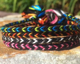 Black Based Collection: Thin Woven Friendship Bracelets