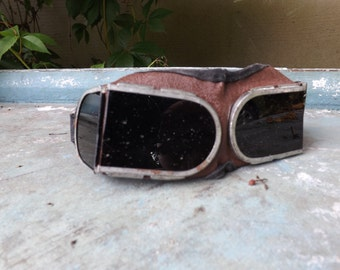 Soviet  Goggles, Welder's goggles, Vintage Steampunk Spectacles from USSR Old School Goggles,  Specs Eye Glasses