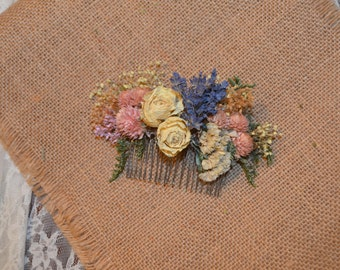 Wedding Hair Accessory English Garden Dried Flowers Hair Comb -  Ivory roses, lavender, statice, amaranth   -Can Be Custom Made to Order