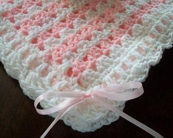 White Crochet Baby Blanket, White Crochet Baby Afghan, Pink Handmade Baby Blanket, Pink Baby Blanket, Pink and White Newborn Blanket