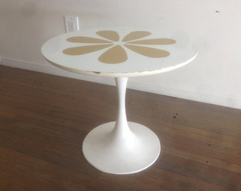 Midcentury Saarinen Style Tulip Side Table With Flower Pattern