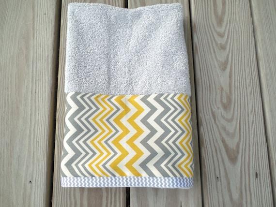 gray guest hand towel yellow gray chevron bath home decor. Black Bedroom Furniture Sets. Home Design Ideas