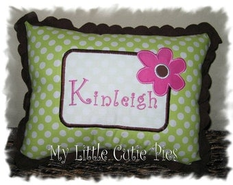 Custom girls personalized accent pillow in black and green