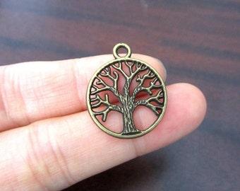 Antique Bronze Tree Charms Pendants 19mm