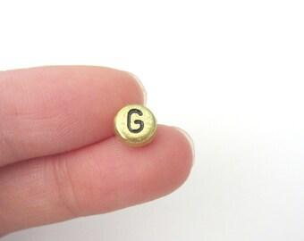 "50pcs Flat Round Alphabet /Letter ""G"" Acrylic Spacer Beads, Gold Tone"