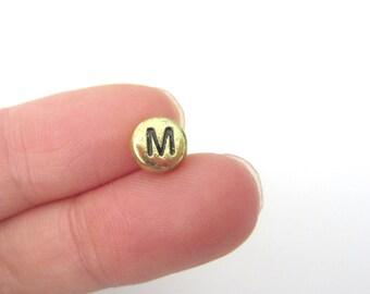 "50pcs Flat Round Alphabet Letter ""M"" Acrylic Spacer Beads Gold Tone"