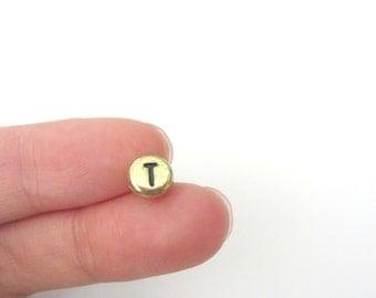 "50pcs Flat Round Alphabet Letter ""T"" Acrylic Spacer Beads Gold Tone"
