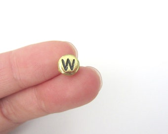"50pcs Flat Round Alphabet /Letter ""W"" Acrylic Spacer Beads, Gold Tone"