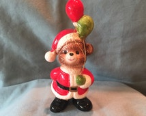 Vintage Bone China Santa Bear with Balloons Figurine. Happy Cute St. Nicolas Teddy Bear Green Red Home Room Office Decor Decoration
