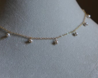 Gold Station Necklace with Freshwater Pearls