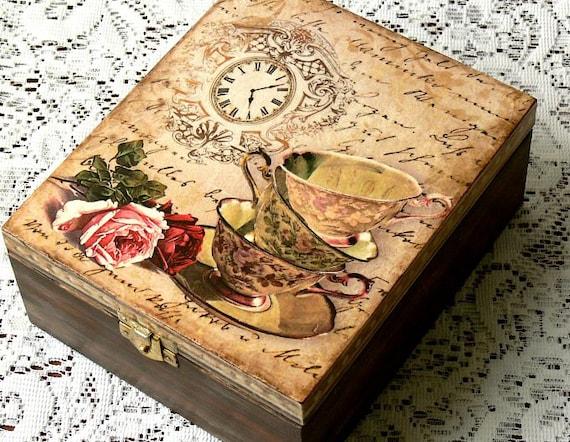 Decoupage tea box jewelry box decoupage box vintage