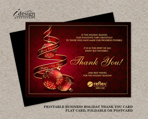 Business christmas thank you cards with logo personalized for Custom business holiday cards