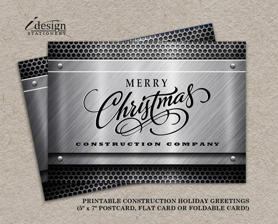 Construction business christmas cards with logo personalized like this item reheart Images