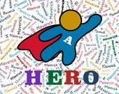 "Hero Palette Custom Name Fabric Material for Applique, ITH, & Craft Projects.  Full 18""x12"" or Half 12""x8"""