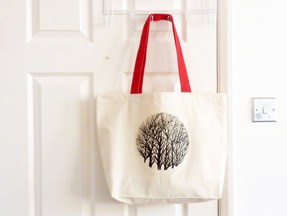 Canvas Bag/ Tote Bag/ Cotton Bag/ Tree Print Tote/ Printed