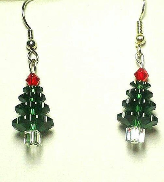 1 Swarovski crystal Christmas tree earrings by ...