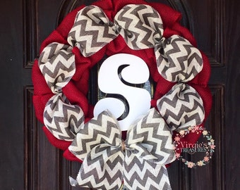 Red Burlap Wreath-Chevorn-Monogram