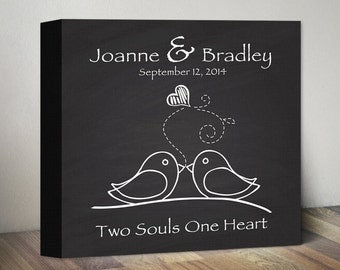 Personalized Chalkboard Wedding Gift Canvas Art. Engagement Anniversary Gift. Two Souls One Heart. Bridal Wedding Shower Gift. Love Birds