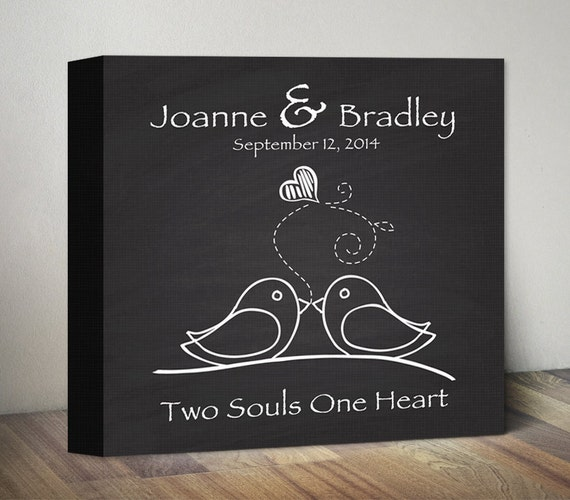 Chalkboard Wedding Gift Canvas Art. Engagement Anniversary Gift ...