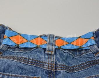 ELASTIC SNAP BELT. Toddler belt. Baby belt. Children's belt. Kids belt. Waistband Cincher. Blue and orange argyle elastic belt.
