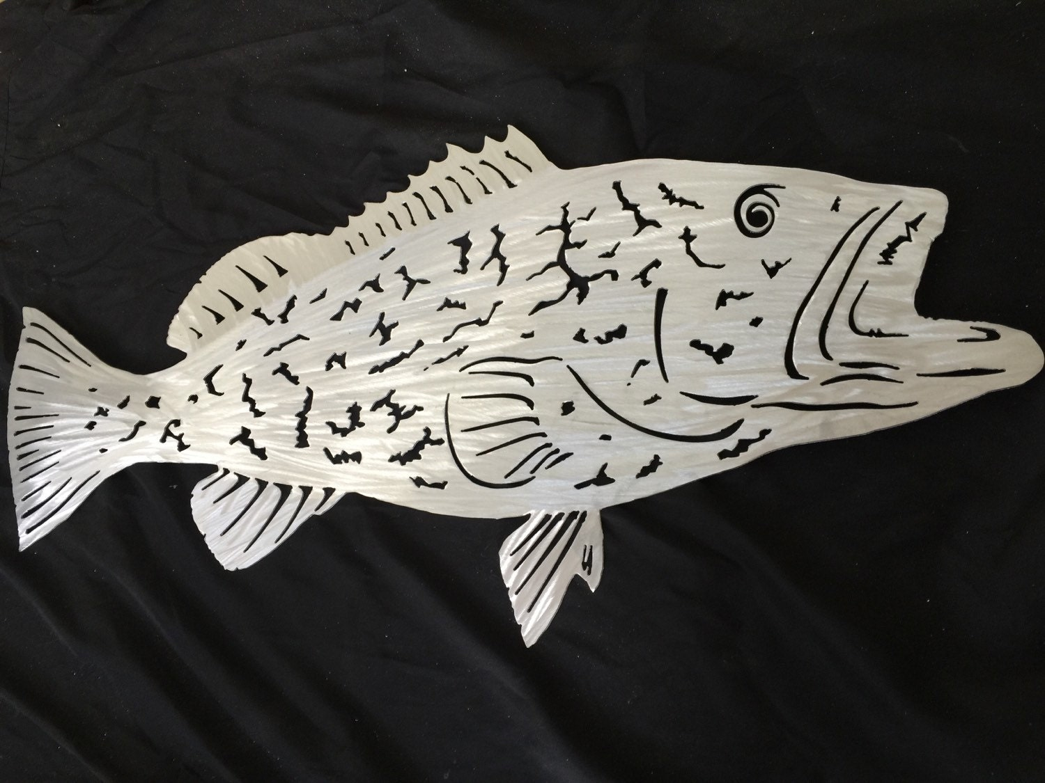 Grouper metal fish art wall art sculpture fish mount for Fish metal wall art
