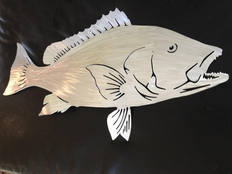 Metal gamefish artist reveals works red snapper metal for Metal fish art